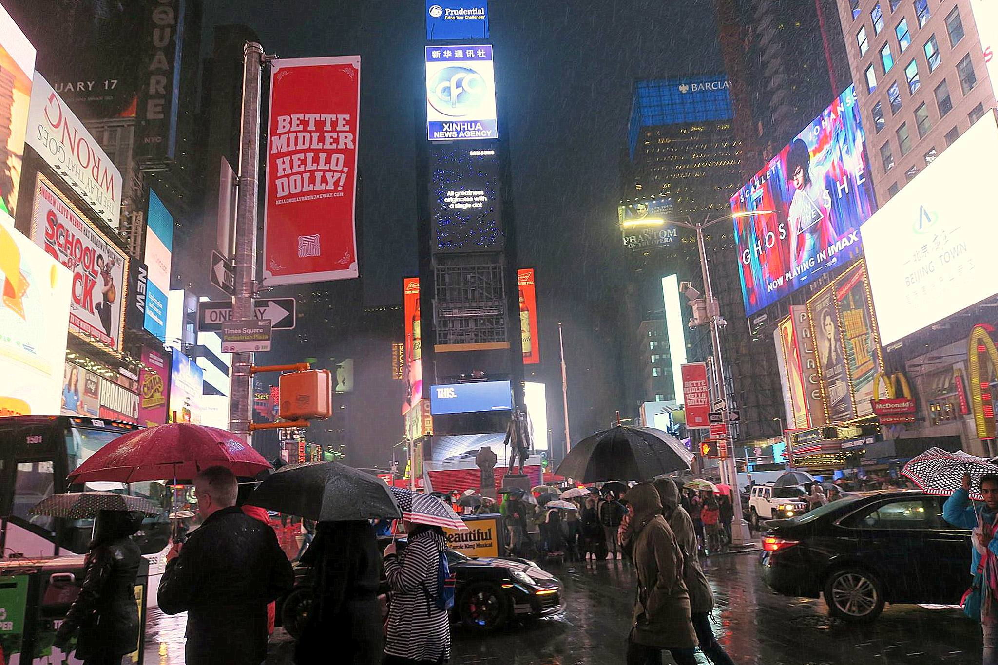 Time Square: Flashing lights and huge billboards